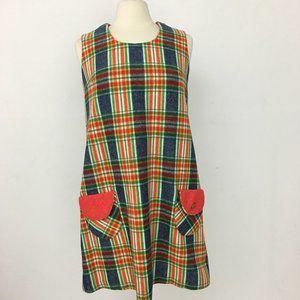 Ma Meré 60s Mod Vintage Plaid Tartan Jumper Dress